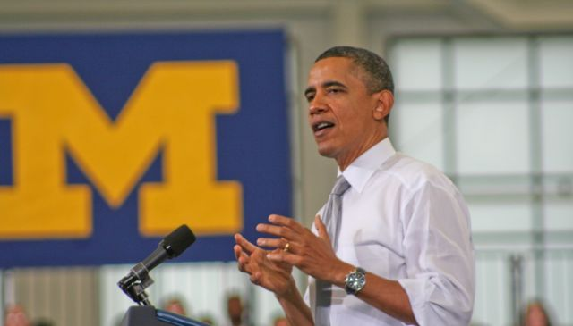 President Obama speaking at the University of Michigan in Jan. 2012
